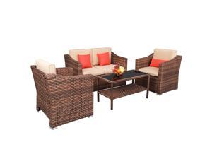 Wide Rattan Double Contiguous Rattan Four-Piece Suit 1 Double 2 Single 1 Double Coffee Table Brown Sofa Table Furniture