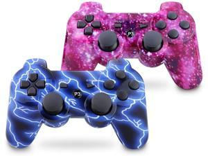 PS3 controller wireless double-click gamepad for Playstation 3 six-axis wireless PS3 controller with charging cable (blue sky and starry sky)