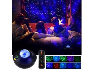 DONWELL Smart LED Projector Light Ocean Wave Star Sky WiFi Projector for Night Light Mood Ambiance Bedroom Party Decoration Compatible with Alexa & Google Home with Music Speaker Remote Control