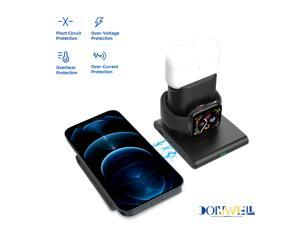 Donwell 3 In 1 15W Qi Wireless Charger Magnetic Dock Charging Pad For Samsung Galaxy S21+/S21 Ultra 5G iPhone 12 12 Pro 12Pro Max 12 Mini ,Charger Stand Station For iPhone 11 11Pro 11Pro Max/XR/X/8