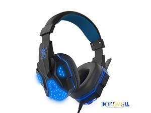 Donwell For PC PS4PS4 Pro/Slim New Xbox One 3DS Laptop Gaming Headset,PC Wired with Mic LED Lights 3.5mm Headphones Stereo Bass Surround Volume Control, Valentines Day gift Vday