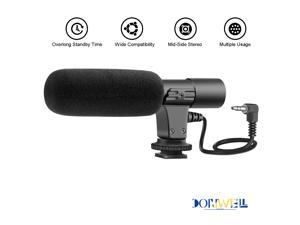 Donwell 3.5mm External Stereo Microphone For Canon Nikon DSLR Camera DV Camcorder Phone,3.5mm Condenser Microphone Stereo Video Audio Camera Professional Recording Mic
