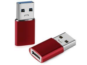 Donwell 2pcs USB C 3.1 Type C Female to USB Type A Male Port Converter Adapter 10Gbps 60W Max  Red