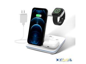 Donwell 3 in 1 Wireless Charging Dock Charger Stand With plug/adapter For iPhone 12/iPhone 11/12 Pro/12 Pro Max/12 Mini/11/11 Pro/11 Pro Max ,for iWatch 1/2/3/4/Sport/Edition,for Air Pods