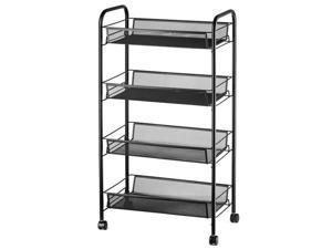 4 Tier Mesh Wire Rolling Cart, Kitchen Storage Organizer Utility Cart, Full Metal Basket Storage Art Trolley Carts with Wheels & 6 Side Hooks