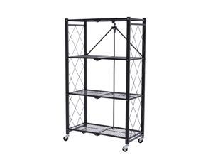 Walsport 4-Tier Rolling Utility Cart Folding Storage Rack Home Kitchen Office Organizer Cart with Wheels Shelves Trolley