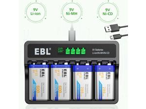 4 slots DC 9V Charger for NIMH NICD Rechargeable Batteries with USB Cable