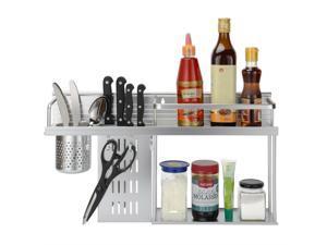 Aluminum Kitchen Shelves Spice Storage Knife Rack Hanger Hooks with Cup Holder