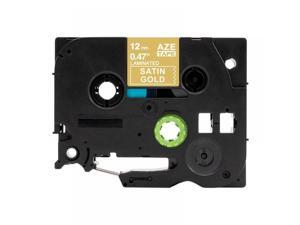"""TZe-MQ835 Label Tape For Brother, 12mm 0.47"""", White on Sn Gold, Compble"""