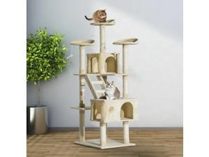 """71"""" Scratching Post Cat Tree Kitty Condo Multi Level Play Activity Center Beige"""