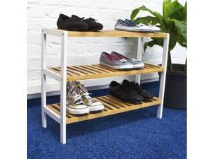 12 Pairs Shoes Storage Bamboo Shoe Rack Organizer With 3 Shelves  ®