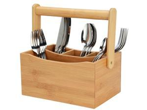 Bamboo 4 Compartment Utensil Flatware Cutlery Caddy Holder with Handle