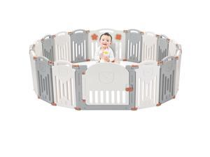 14-Panel Baby Playpen Foldable Kid Safety Activity Center Playard w/Locking Gate