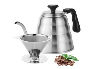 Stainless Steel Pour Over  Kettle With Thermometer and Coffee Dripper Filter Set