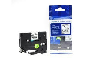 """Label Tape for Brother TZe-221 P-touch 9mm 0.35"""" Length 8M 26.2ft Black on White"""