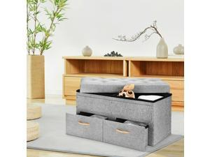 Folding Storage Ottoman with Two Drawers Foot Rest Stool   Living Room