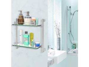 ® 2-tier Tempered Glass Bathroom Shelf Wall Mounted Shower Storage