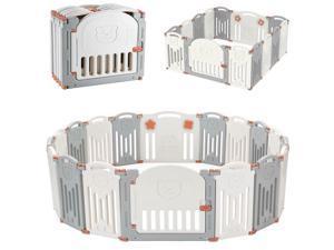 16-Panel Foldable Baby Playpen, Kids Safety Activity Center Playard Locking Gate