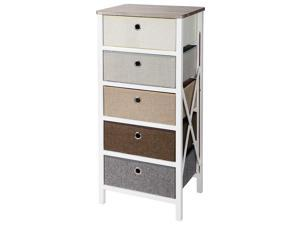 5-Drawer Storage Organizer Closet Bedroom Nightstand Home Living Entryway Table
