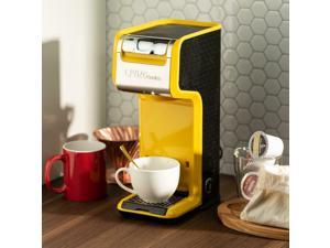 Slim Design Yellow 2 In 1 Single Serve Coffee Maker Brewer, Ground  K-Cup Pods