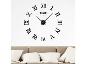 Frameless Large 3D DIY Wall Clock, Roman Numerals, Black