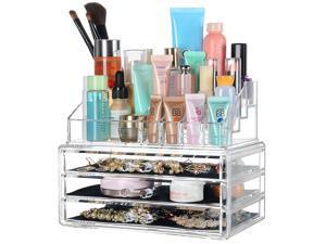 Acrylic Jewelry Organizer 3 Drawers Makeup Box Display Holder Storage