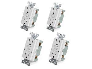 4pk Tamper Resistant GFCI Receptacle Outlet 15 Amp 125 Volt, auto-test function