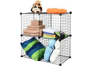 4-Cube Storage Shelving Rack DIY Wire Grid Bookcase Modular Books Toys Clothes