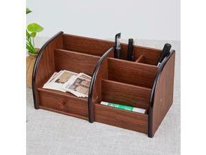 ® Wooden Desktop Organizer with Drawer and 5 Compartments