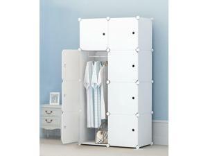 Room Portable Clothes Closet Wardrobe Bedroom Armoire Storage Organizer W/ Doors