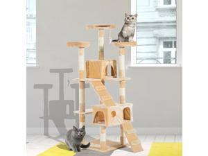 Multi-Level Cat Tree Scratching Post Tower Condo Furniture Beige