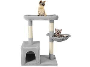 Hot Cat CuteTree with Scratching Posts and 1 Plush Condos for Kittens Light Gray