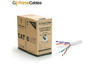 1000FT 23AWG4P Bare Copper Cat6 UTP Solid Bulk Cable, In-Wall Rated CM White