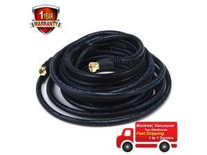 50ft RG6 18AWG 75Ohm Quad Shield CL2 Coaxial Cable with F Type Connector