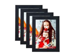 "® 5"" x 7"" Decor Picture Frame, Table Stand or Wall Mounted,4/Pack, BK"