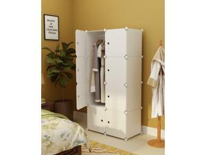 W/ Doors Portable Clothes Closet Wardrobe Bedroom Armoire Storage Home Organizer