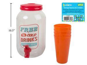 Luciano 3.8L Plastic Beverage Dispenser with 4pcs 8oz.Cups