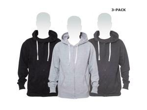 Cotton blend hoodie with Full-length zip  pocket, Grey Black  Charcoal 3Pack