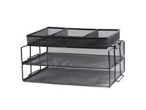 ® 3-Tier Mesh Office Desk Organizer With 3 Sorter Sections, Black