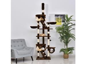 """94""""-102"""" Huge Cat Tree Ceiling High Cat Condo Scratching Post Play House"""