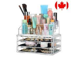 3 Drawers Clear Makeup Cosmetics Organizer Transparent Storage Box Acrylic