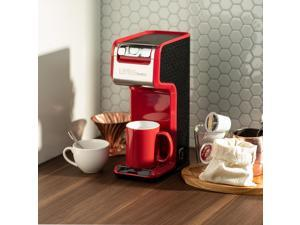 Red 2 In 1 Single Serve Coffee Maker Brewer, Ground  K-Cup Pods Office Home