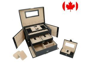 Lockable Jewelry Box Storage 20 slot Multi-Layer Leather Showcase Organizer Case