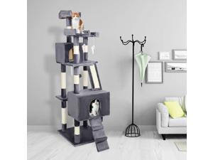 """Condo with Sisal Scratching Posts Kitten Play House with Toy 68"""" Cat Cute Tree"""