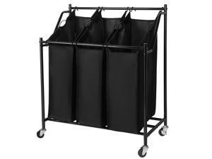 Rolling Laundry Sorter Cart 3-Bag Heavy Duty Sorting Hamper  W/ Removable Bag