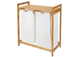 Bamboo Laundry Hamper Sorter Basket W/ Storage Shelf  Large Organizer