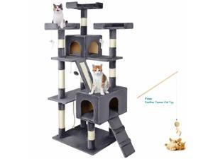 """68"""" Large Cat Tree Condo with Sisal Scratching Posts Kitten Play House Pet Decor"""