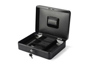 Steel Cash Box with Key Lock and Removable 5-Compartment Money Tray