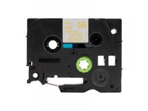 """TZe-MQ934 Label Tape For Brother, 12mm 0.47"""", Gold on Sn Silver, Compble"""