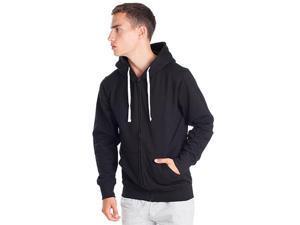 Cotton blend hoodie with Full-length zip and kangaroo pocket Black